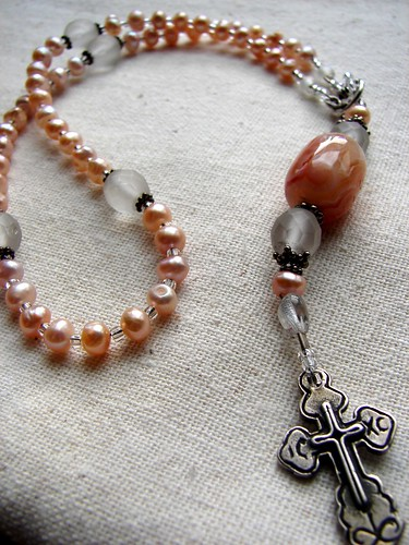 Child Rosary in a Y style wearable design w/Peach/pink freshwater pearls, Botswana Agate Large barrel bead and a SS small cross