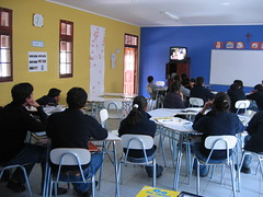 Students watching video