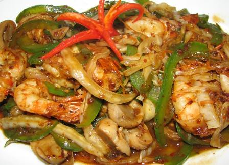 Stir fried prawns with chilli sauce- San Ho rest