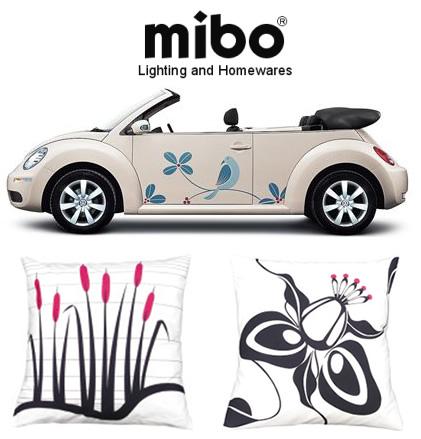 NEW! Volkswagen Bettle Art + Pillows From Mibo