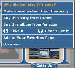 Pandora Menu Screenshot