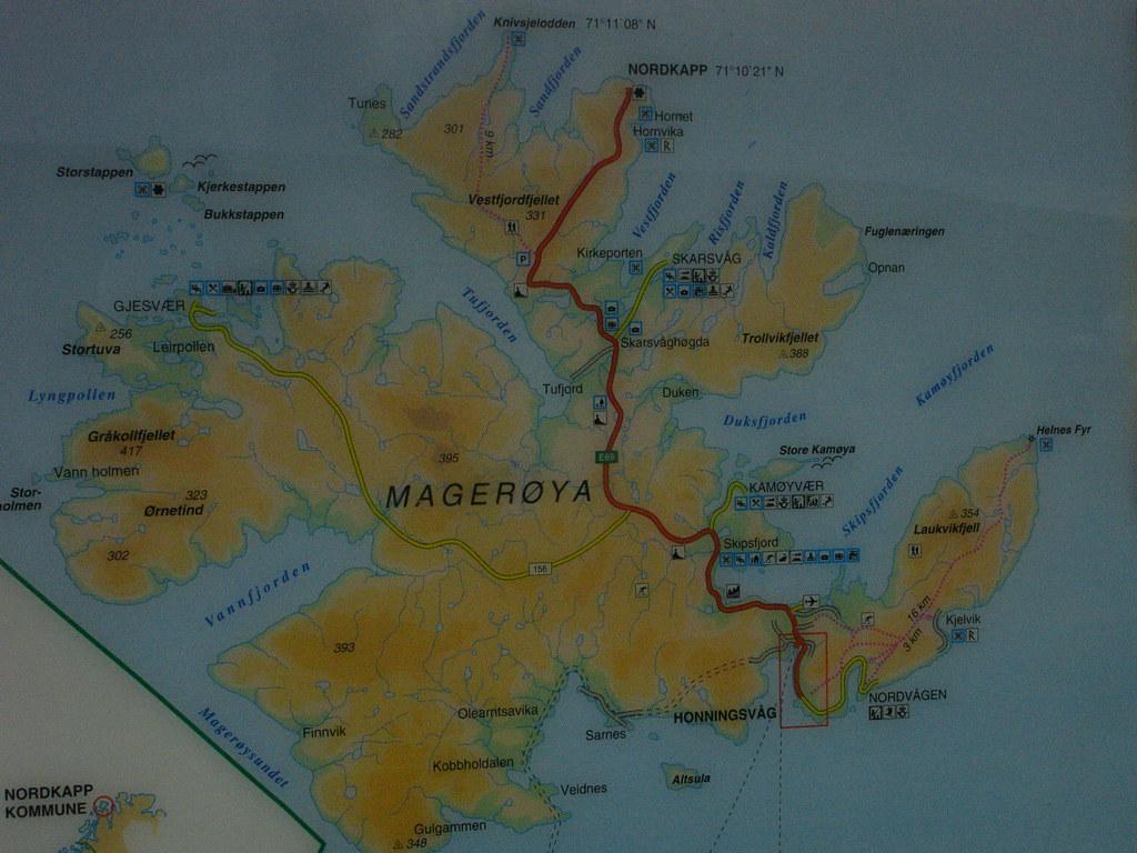 Map showing Nordkapp, Norway