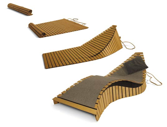Confused Direction, PoissonMobile Chaise and Mat, Fold-up chaise lounge, Modular Furniture, Modular Lounge Chair, Green Design