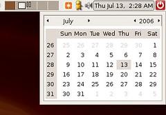 Ubuntu's clock's calendar
