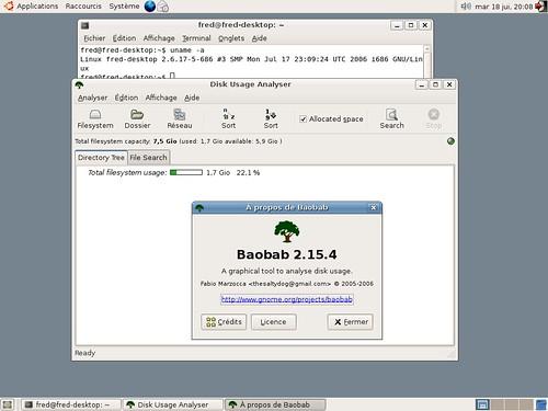 Baobab pour Gnome 2.15.4 en action.