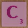 Scrabble pink tile letter C