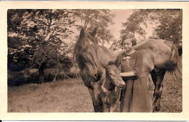 Ethel Whitman with Old Kate and her colt