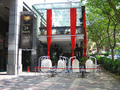 Restaurant with swings