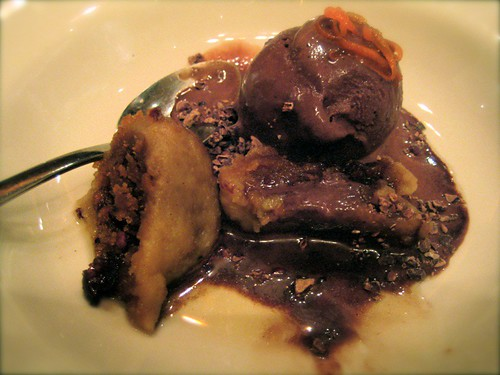 suet pudding with chocolate blood gelato