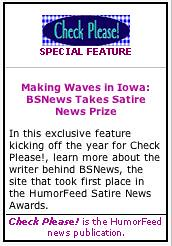 Check Please! satire news logo