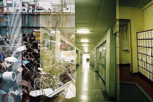 junk , passageway , shoe cupboard