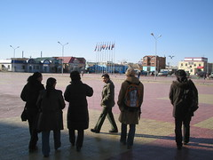 In front of the Zamin-uud station.