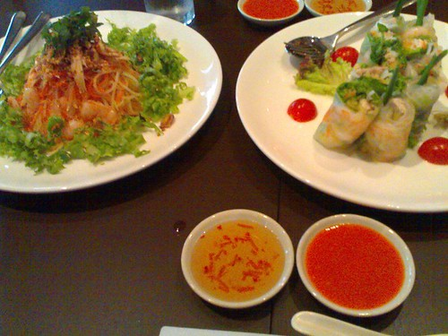 Some salad and rice paper rolls