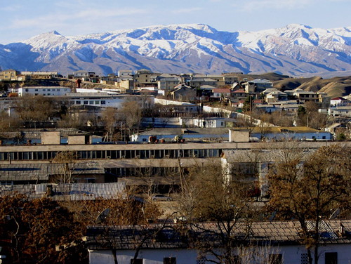 Ashgabat with mountains