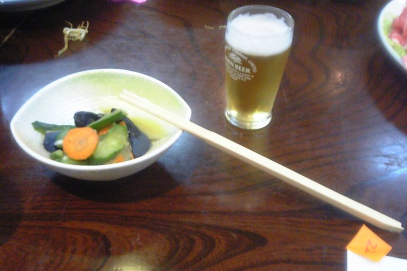 Pickled vegetables and beer