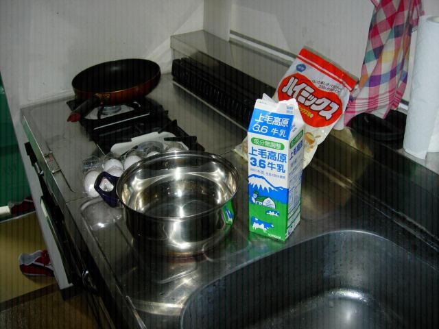 naleśniki: gar, patelnia, hotkeekimiksu, mleko i ejko