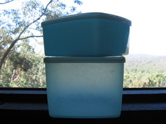 blue tupperware