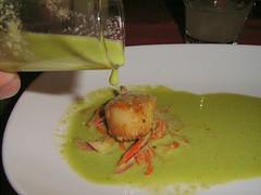 Cold Cilantro Soup with Pan Seared Scallop