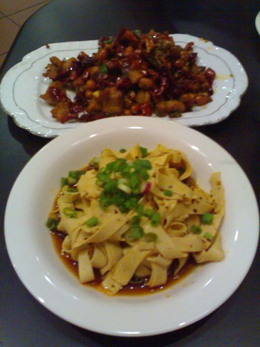 From top: Chongqing Diced Chicken with Dried Chili and Spicy Bean Curd Slices