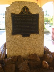 The marker on the place where Magellan reportedly died