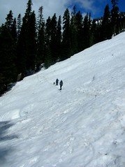 Ab and Son crossing one of many avy slopes