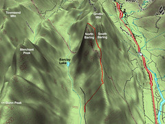 3D Map of Route to Baring Mtn