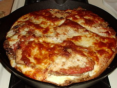 Deep dish eggplant pizza