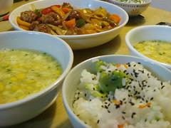 空豆ご飯と酢豚