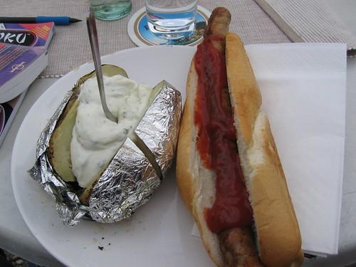 bratwurst and a potato
