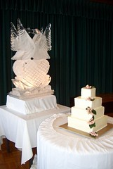 Ice sculpture and wedding cake at Aunty Lana's wedding