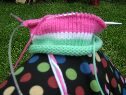 watermelon hat in progress