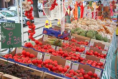 Fresh fruit for sale at Edinburgh's French market on Grassmarket