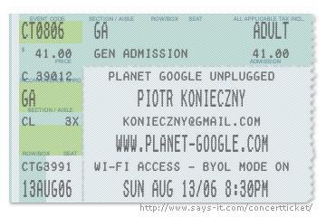 Create fake concert tickets fun google blogoscoped forum for Fake concert ticket generator