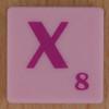 Scrabble pink tile letter X