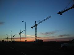 construction on the bridge at sunset