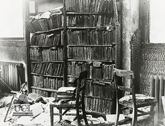 Library bookcase after an air raid
