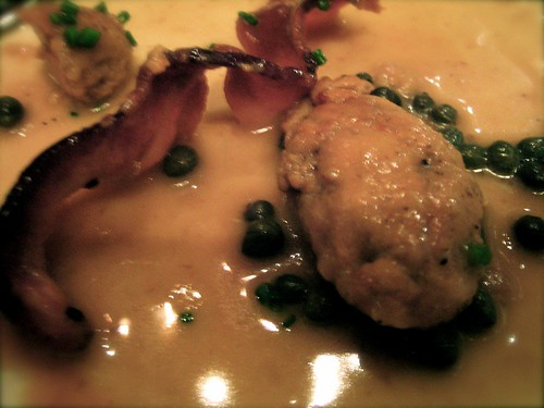 mountain oysters with pancetta afumicata & capers