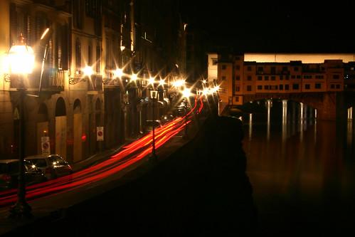 River Arno, Ponte Vecchio, cars at night time