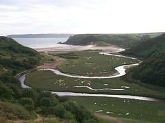 Three Cliffs Bay from the coastal road, Gower