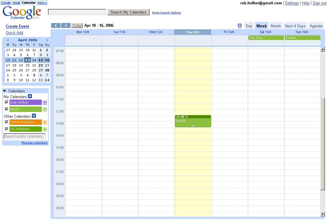 Google Calendar (click to zoom)