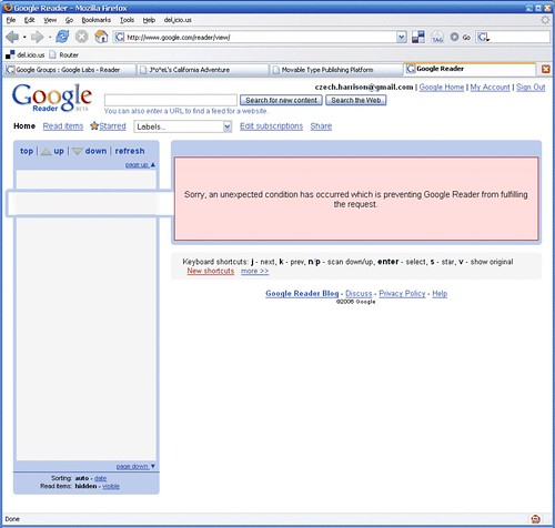 Google Reader Error: 1