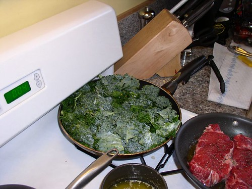 sauteeing the kale