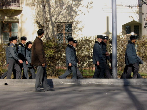 Soldiers marching one by one