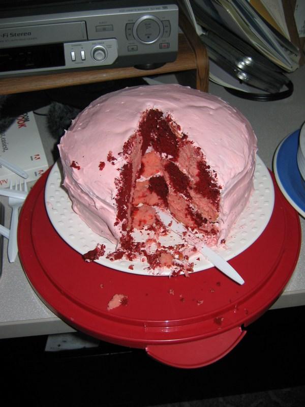 Photo of checkered strawberry and red velvet cake for Elisa Nader