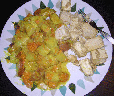 coconut veggies + sesame tofu