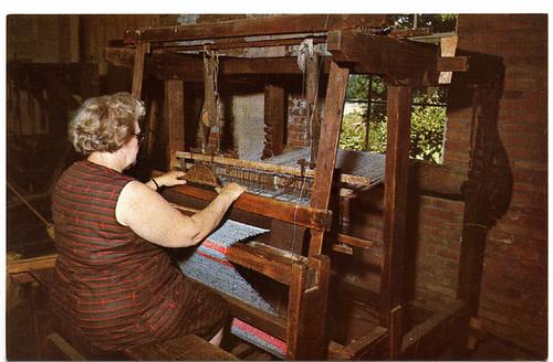 Postcard: Bishop Hill weaver