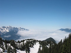 Low Clouds Covering Skykomish River Valley From Gully On Baring Mtn