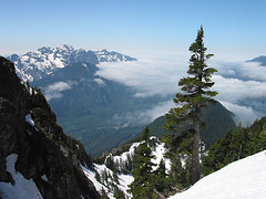 Looking Back To Mt Index, Mt Persis, And Highway 2 From Snow Wall On Baring Mtn