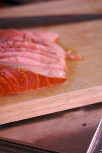 smoked salmon cut