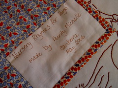 Label for Hugo's quilt